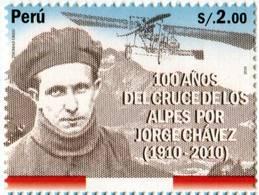 Lote P86a, Peru, 2010, Sello, Stamp, 100 Años Del Cruce De Los Alpes Por Jorge Chavez ,aviacion, Aviation - Perú