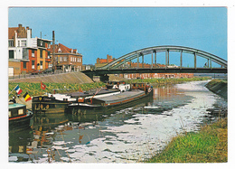 Belgique Menen Menin Leiebrug La Lys Pont En 1979 Belles Péniches Nommées CONARI Et MARNIC - Menen