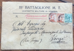 111 BATTAGLIONE M.T. DISTRETTO MILITARE VENEZIA RACCOMANDATA PER SCORZE' DEL 15/4/18 - Marcofilía