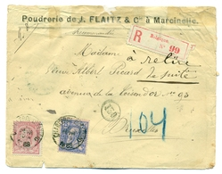 Belgique COB46 Et COB48 Sur Recommandé De La Poudrerie J. Flaitz à Marcinelle Envoyé De Charleroi (Station) à Bruxelles - 1884-1891 Leopoldo II