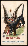ALTE POSTKARTE DACKEL ADLER PATRIOTIK POLITIK BERLIN Dachshund Teckel Political Cartoon Karikatur Ansichtskarte Postcard - Hunde