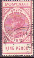 AUSTRALIA SOUTH AUSTRALIA 1906 SG #286a 9d Used Wmk Crown Over SA Thick POSTAGE Value 16½mm Long Perf.12 - 1855-1912 South Australia