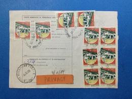1989 STRISCIA DI 3 CASTELLO 650 + COPPIA 650 X 2 + 3 SINGOLI SU BOLLETTINO PACCHI - 6. 1946-.. Republic
