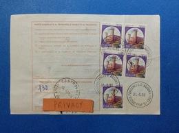 1988 CASTELLO COPPIA 700 X 2 + 700 SINGOLO SU BOLLETTINO PACCHI - 6. 1946-.. Republic