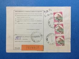 1990 STRISCIA DI 3 CASTELLO 800 LIRE SU BOLLETTINO PACCHI - 6. 1946-.. Republic