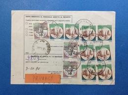 1990 COPPIA CASTELLO 1000 + 1000 SINGOLO + 750 X 8 SU BOLLETTINO PACCHI - 6. 1946-.. Repubblica