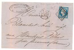 Lettre De Paris Pour Flixecourt Du 12/10/1858 20 C Empire Oblitéré Losange - Storia Postale