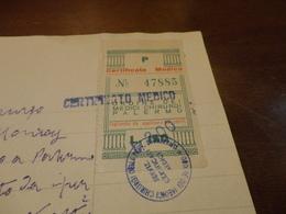 MARCA DA BOLLO ORDINE DEI MEDICI CHIRURGHI PALERMO -  LIRE 150  SOPRASTAMPATA LIRE 200 -1954 - Steuermarken
