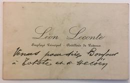 Carte De Visite. Léon Lecomte. Employé Principal. Artillerie De Puteaux. Inscriptions Amusantes. - Cartes De Visite