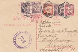 PORTUGAL 1933 - 25 C Ganzsache + 3 X 10 + 40 C Zusatzfrankierung Auf Pk Gel.v. Portugal > D.Bank Discont Hamburg - 1910-... Republik