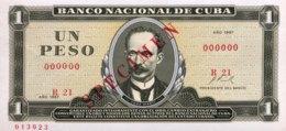 Cuba 1 Peso, P-102s1 (1967) - UNC - SPECIMEN - Kuba