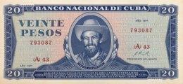 Cuba 20 Pesos, P-105a (1971) - UNC - Cuba