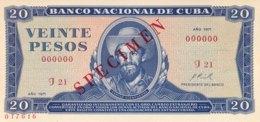 Cuba 20 Pesos, P-105aS (1971) - UNC - SPECIMEN - Kuba