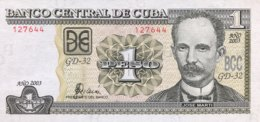 Cuba 1 Peso, P-121c (2003) - UNC - Cuba