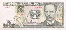 Cuba 1 Peso, P-125 (2003) - UNC - Jose Marti Banknote - Cuba