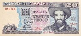 Cuba 20 Pesos, P-126 (2003) - UNC - 50 Years Moncada Barracks Storm - SCARCE! - Cuba