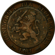 Monnaie, Pays-Bas, William III, 2-1/2 Cent, 1881, TB, Bronze, KM:108.1 - [ 3] 1815-… : Kingdom Of The Netherlands