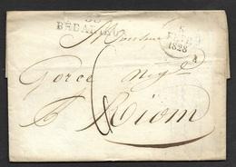 Hérault-Lettre  Avec Marque Linéaire 33 BEDARIEUX (43*12) - Marcophilie (Lettres)