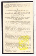 DP Alma M. VanKersschaever ° Oostende 1903 † Brugge 1932 X Gaston Baele - Images Religieuses