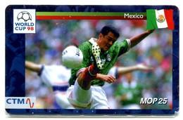 Macau CTM Chip Card - Football World Cup 98 - Mexico RR - Macau