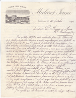 09 Narbonne - Lettre Illustrée De 1891 Vins En Gros Malaret Jeune. Tb état. - France