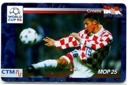 Macau CTM Chip Card - Football World Cup 98 - Croatia RR - Macau