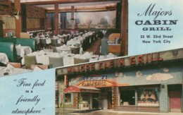New York City, Majors Cabin Grill 33 W. 33rd St. Restaurant Interior View C1940s/50s Vintage Postcard - Bars, Hotels & Restaurants