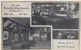 New York City, Farrish's Chop House 42 John Street Restaurant Interior View C1920s/30s Vintage Postcard - Bars, Hotels & Restaurants