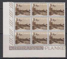 Liechtenstein 1949 Freimarke - Provisorium Pkanken Ovptd 1v 9X ** Mnh (41884) - Liechtenstein