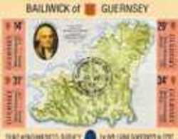 Guernesey Yvertn° Bloc 7 Carte De L' île (°) Used Cote 7,50 Euro - Guernesey