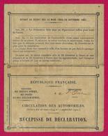 Récépissé De Déclaration Pour La Circulation Des Automobiles - Document établi à Beauvais En 1910 - Voitures