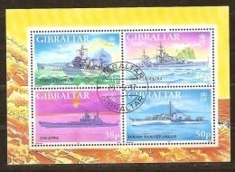Gibraltar 1997 Yvertnr Bloc 27 (°) Used Oblitéré  Cote 7,50 Euro  Navires De Guerre Boten Ships - Gibraltar