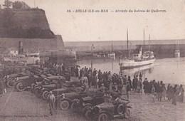 CPA/ Belle-ile-en-Mer (56) Arrivée Du Bateau De Quiberon  Vieilles Voitures  Rare  Ed  Petitjean N° 86 Bistre   Bon état - Belle Ile En Mer