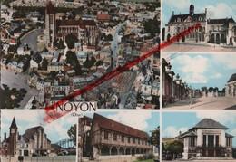 (Oise) Noyon - 60 - Multivues (colorisée) Cathédrale, Théâtre, Hôtel De Ville, Gare, Bibliothèque (circulé 1970) - Noyon