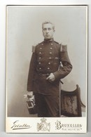 CDV  BRUXELLES  FUTUR ROI ALBERT PREMIER  MILITAIRE  PHOTO GUNTHER FOTO BRUSSEL FORMAT CABINET CARD - Photos