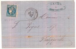 Lettre De Constantine Pour Philippeville De 1871 20 C Céres Non Dentelé Oblitéré Losange Gros Chiffre 5023 - 1849-1876: Klassieke Periode