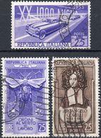 REPUBBLICA 1953 - MILLE MIGLIA + ORDINI AL MERITO LAVORO + ARCANGELO CORELLI - 3 SERIE COMPLETE USATE - 1946-60: Usati