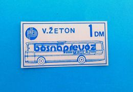 BOSNAPREVOZ MAGLAJ -  Old Bus Ticket 1 DM ( Bosnia And Herzegovina ) * Autobus Billet Biglieto Billete - Abonnements Hebdomadaires & Mensuels