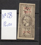 DT175R FRANCE 1 TIMBRES OBL FISCAL FISCAUX REVENUE REVENUES EFFETS COMMERCE N°28 NAPOLEON III - Revenue Stamps