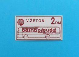 BOSNAPREVOZ MAGLAJ -  Old Bus Ticket 2 DM ( Bosnia And Herzegovina ) * Autobus Billet Biglieto Billete - Abonnements Hebdomadaires & Mensuels