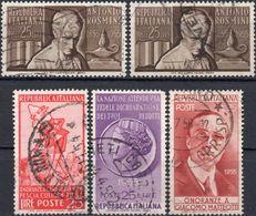 REPUBBLICA 1954/1955 - COLLODI, PINOCCHIO + REDDITI + GIACOMO MATTEOTTI + ANTONIO ROSMINI - 5 SERIE COMPLETE USATE - 1946-60: Usati