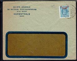 """BELGIQUE - 1927 """"Usine Moser - Herenthals"""" Albert 1er Surchargé Seul Sur Enveloppe à Fenêtre - B/TB - - 1922-1927 Houyoux"""