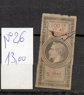 DT175U FRANCE 1 TIMBRES OBL FISCAL FISCAUX REVENUE REVENUES EFFETS COMMERCE N°26 NAPOLEON III - Revenue Stamps