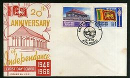 Sri Lanka 1968 Independance Memorial Flags Coat Of Arms Sc 413-14 FDC # 5881 - Sri Lanka (Ceylon) (1948-...)