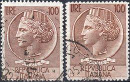 REPUBBLICA 1955 - SIRACUSANA O TURRITA £ 100 DETTA TESTONE - 2 SERIE COMPLETE USATE - 1946-60: Usati