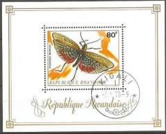 Rwanda Ruanda 1973 Yvertn° Bloc  27 (°) Used Cote 9,00 Euro Faune Insectes - Rwanda