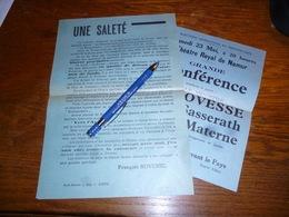 Lot De 2 Documents Conférence François Bovesse + Tract De F Bovesse Contre Journaliste De Vers L'avenir 1935 Joiris - Documents Historiques