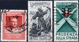 REPUBBLICA 1957 - CICERONE + SAN FRANCESCO DI PAOLA + PRUDENZA SULLA STRADA, SEMAFORO - 3 SERIE COMPLETE USATE - 1946-60: Usati