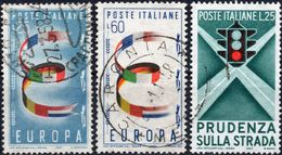 REPUBBLICA 1957 - EUROPA + PRUDENZA SULLA STRADA, SEMAFORO - 2 SERIE COMPLETE USATE - 1946-60: Usati