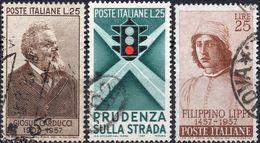 REPUBBLICA 1957 - GIOSUE CARDUCCI + PRUDENZA SULLA STRADA, SEMAFORO + FILIPPINO LIPPI - 3 SERIE COMPLETE USATE - 1946-60: Usati